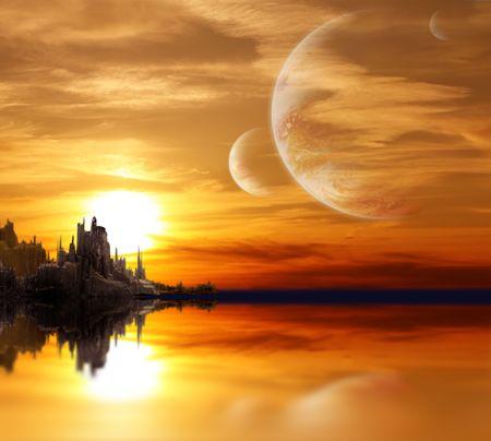 fantasia: Collage - paisaje en planeta de fantas�a