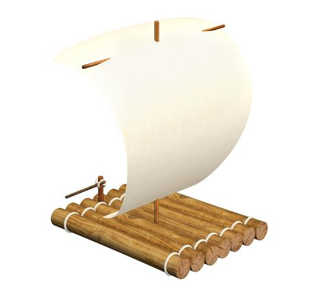 selfmade: 3d self-made wooden raft with sail from a paper Stock Photo