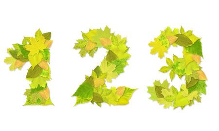 Numbers with a green leaves. Set 1 Stock Photo - 6363119