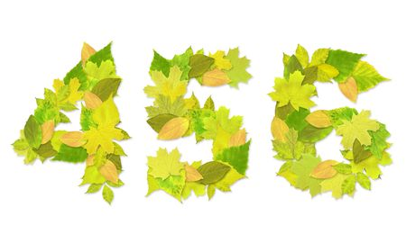 Numbers with a green leaves. Set 2 Stock Photo - 6363124