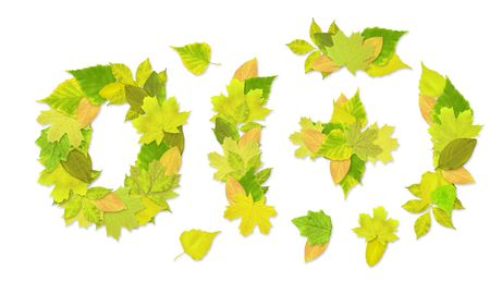 Numbers with a green leaves. Set 4 Stock Photo - 6363125