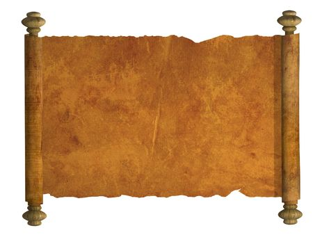 scroll paper: Scroll of old parchment. Object over white