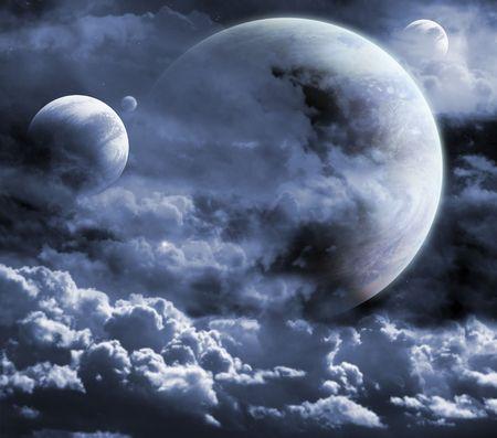 moon surface: Illustration - a fantastic beautiful galaxy