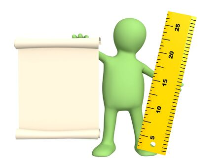 width: New message - 3d puppet with information scroll and ruler