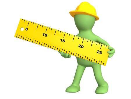 3d builder with ruler - over white Stock Photo - 6383784