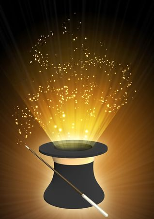 Vertical background of brown color with magic top hat Stock Photo