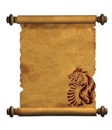 Blad van oude perkament met de afbeelding van draken