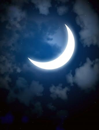 crescent moon: Night fairy tale - bright moon in the night sky Stock Photo