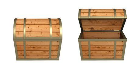 cofre del tesoro: caja de madera vac�a 3D. Objeto sobre blanco