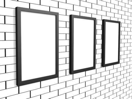 3d picture gallery on a brick wall photo