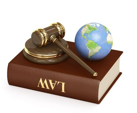 judicial: Judicial 3d gavel and Earth. Objects over white Stock Photo