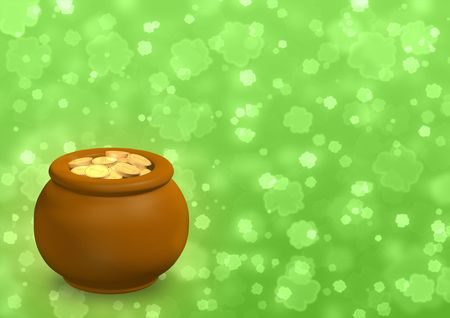 Background - pot, filled with gold coins Stock Photo - 6416627