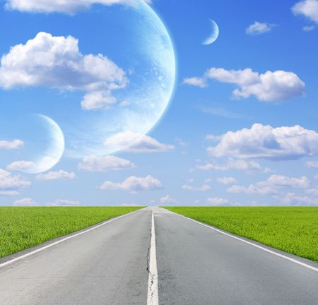Collage - sky in alien planet Stock Photo - 6416630
