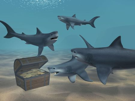 sunk: Sharks floating above a box with treasures Stock Photo
