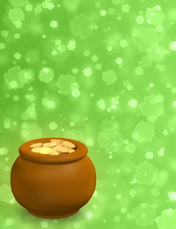 Background - pot, filled with gold coins Stock Photo - 6461481