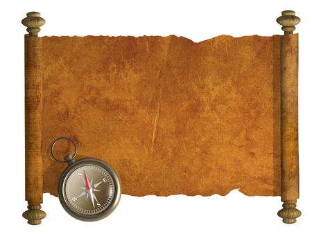 Compass and antique scroll - isolated over white photo