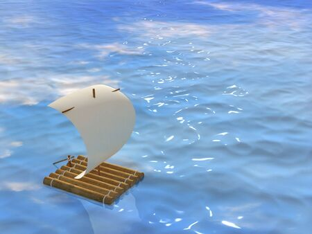 3d self-made wooden raft with sail from a paper photo