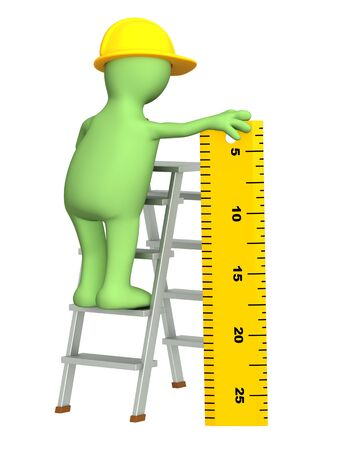 explained: 3d builder with ruler - over white Stock Photo