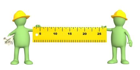 3d builders with ruler - over white Stock Photo - 6564983