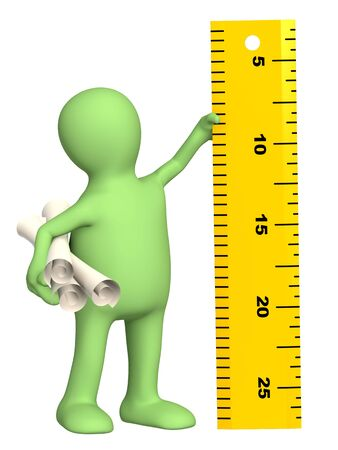 3d puppet with ruler - over white Stock Photo - 6564982
