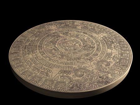 Stone Maya calendar - over black photo