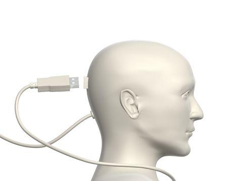 usb kabel: USB-Kabel und menschlicher Kopf