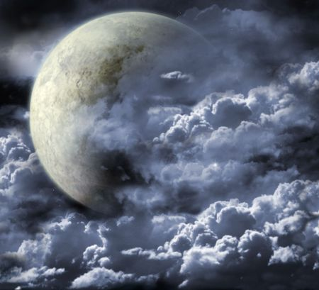 moon surface: Illustration - a fantastic beautiful moon