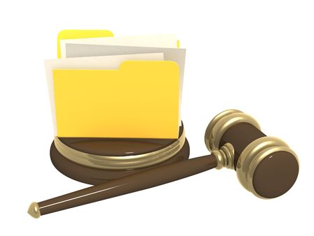 Judicial gavel and folder. Objects over white photo