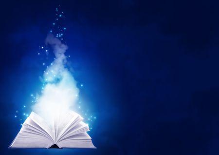 apriva: Sfondo orizzontale di colore blu con libro magico  Archivio Fotografico