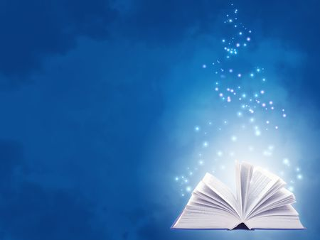 opened: Horizontal background of blue color with magic book Stock Photo