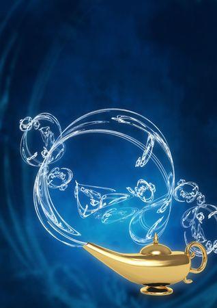 Symbol performance of desires - magic lamp photo