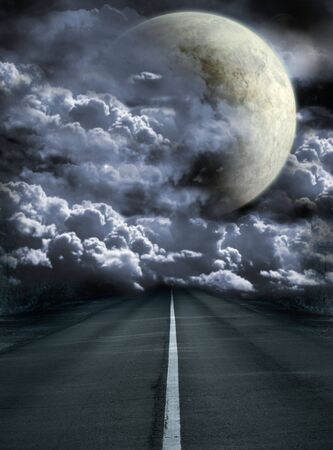 infinity road: Dark series - road to surreal moon Stock Photo