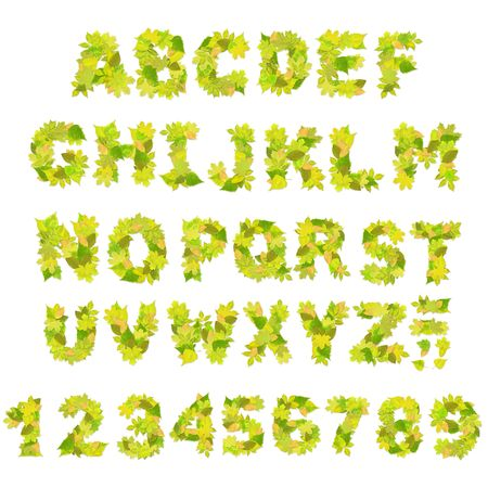 writing letter: Alphabet - letters with a green leaves
