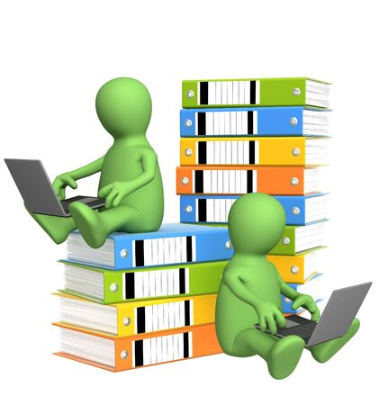 hectic: All-out effort. Two puppets with folders and laptops Stock Photo