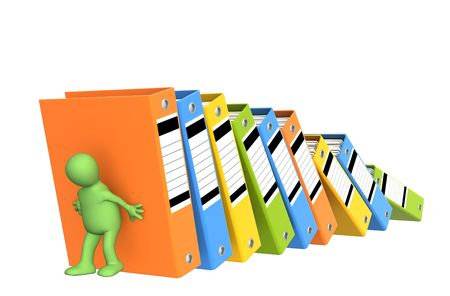 3d puppet, supporting falling folders - over white photo
