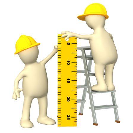 cartoon worker: constructores 3D con gobernante - sobre blanco  Foto de archivo