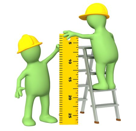 3d builders with ruler - over white Stock Photo - 6651548