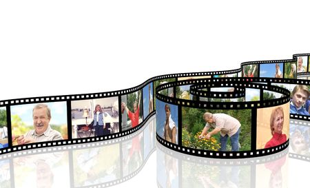 family movies: Family photos on filmstrip - over white