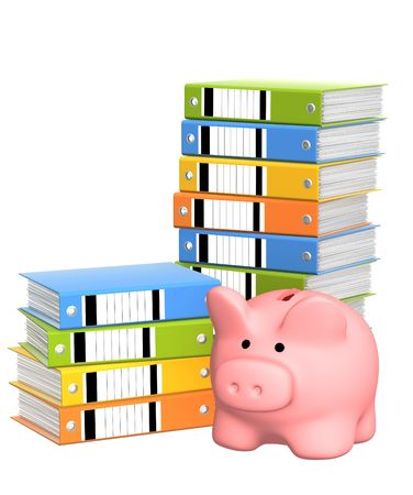 Piggy bank and folders. Isolated over white photo