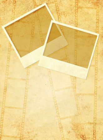 Grunge background with two photoframes photo