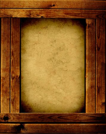 rustic: Wooden frame - object over white