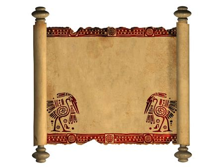 american curl: Scroll of old parchment. Object over white
