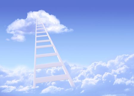 Conceptual image - ladder to sky photo