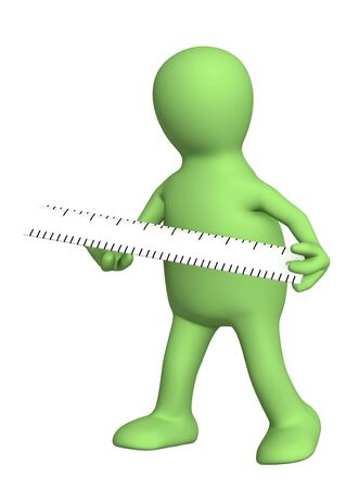 3d puppet with ruler - over white Stock Photo - 6684991