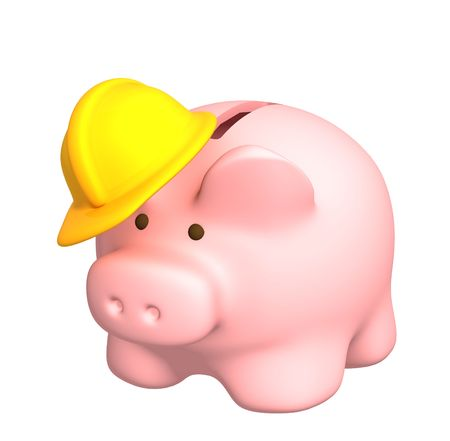 dividend: Piggy bank in hat. Isolated over white Stock Photo