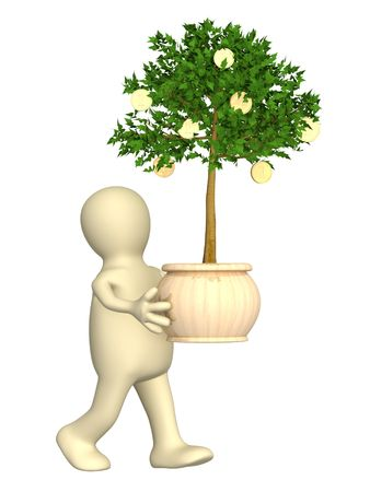 Puppet with monetary tree. Isolated over white photo
