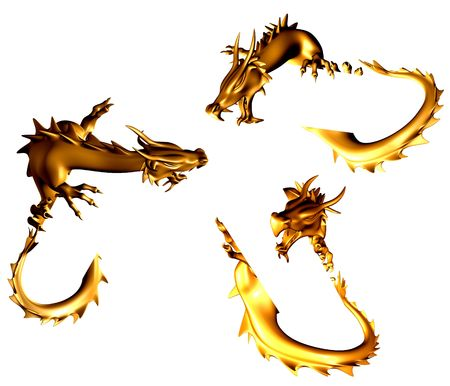dangerously: Set - 3d golden statues of the chinese dragons Stock Photo