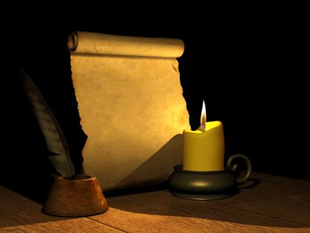 writing black: Burning candle and the ancient manuscript. 3d Stock Photo