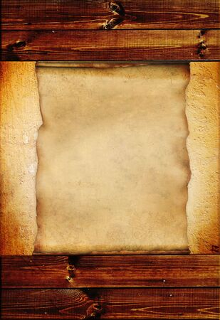 Grunge background with wooden boards and paper sheet photo