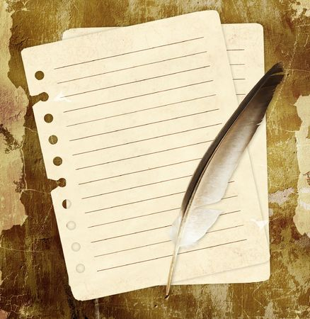 Grunge background with notebook pages and feather Stock Photo - 6685098